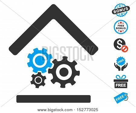 Workshop pictograph with free bonus icon set. Vector illustration style is flat iconic symbols, blue and gray colors, white background.