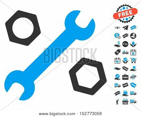 Wrench and Nuts icon with free bonus symbols. Vector illustration style is flat iconic symbols, blue and gray colors, white background.
