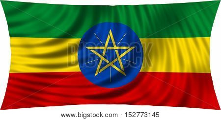 Ethiopian national official flag. African patriotic symbol banner element background. Correct colors. Flag of Ethiopia waving isolated on white 3d illustration