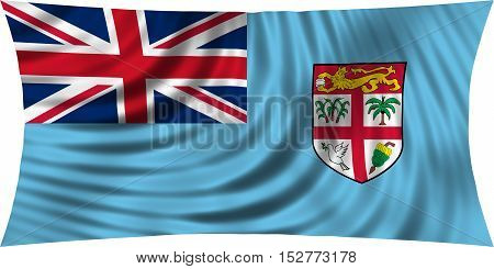 Fijian national official flag. Patriotic symbol banner element background. Correct colors. Flag of Fiji waving isolated on white 3d illustration