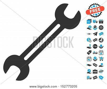 Wrench icon with free bonus pictograph collection. Vector illustration style is flat iconic symbols, blue and gray colors, white background.