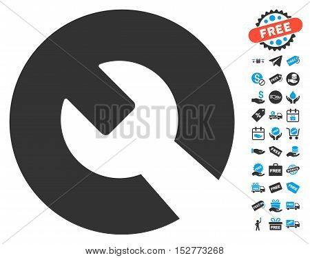 Wrench icon with free bonus icon set. Vector illustration style is flat iconic symbols, blue and gray colors, white background.