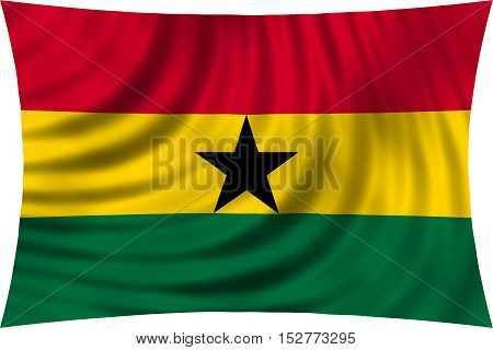 Ghanaian national official flag. African patriotic symbol banner element background. Correct colors. Flag of Ghana waving isolated on white 3d illustration