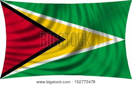 Guyanan national official flag. Patriotic symbol banner element background. Correct colors. Flag of Guyana waving isolated on white 3d illustration