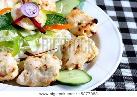 Seekh kebab with salad
