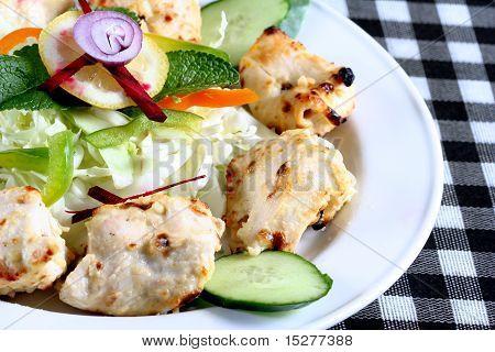 Seekh kebab with salad