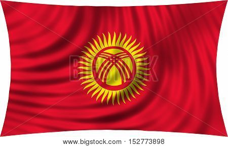 Kyrgyzstani national official flag. Patriotic symbol banner element background. Correct colors. Flag of Kyrgyzstan waving isolated on white 3d illustration