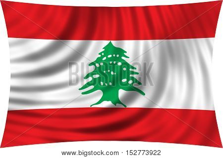 Lebanese national official flag. Patriotic symbol banner element background. Correct colors. Flag of Lebanon waving isolated on white 3d illustration