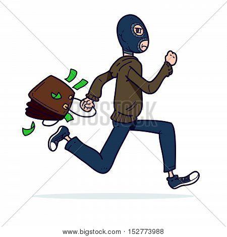 Illustration of a cartoon thief running with money