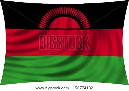 Malawian national official flag. African patriotic symbol banner element background. Correct colors. Flag of Malawi waving isolated on white 3d illustration