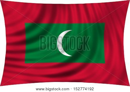 Maldivian national official flag. Patriotic symbol banner element background. Correct colors. Flag of Maldives waving isolated on white 3d illustration