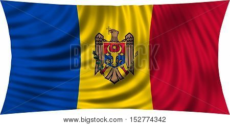 Moldovan national official flag. Patriotic symbol banner element background. Correct colors. Flag of Moldova waving isolated on white 3d illustration