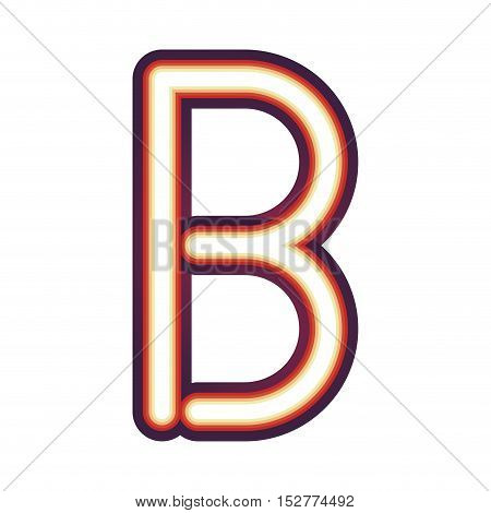 Glowing neon colorful letter B over white background. vector illustration