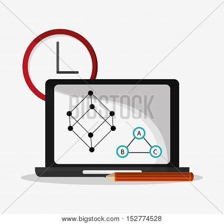 Laptop and clock icon. Social media and digital marketing theme. Colorful design. Vector illustration