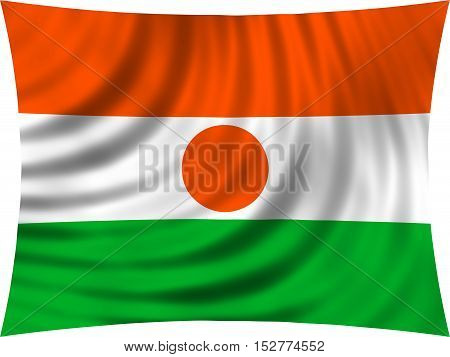 Nigerien national official flag. African patriotic symbol banner element background. Correct colors. Flag of Niger waving isolated on white 3d illustration