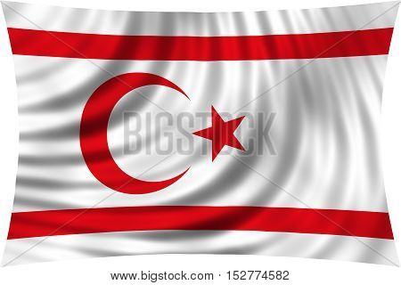 Northern Cyprus national official flag. TRNC patriotic symbol banner element background. Correct colors. Flag of Turkish Republic of Northern Cyprus waving isolated on white 3d illustration