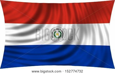 Paraguayan national official flag. Patriotic symbol banner element background. Correct colors. Flag of Paraguay waving isolated on white 3d illustration
