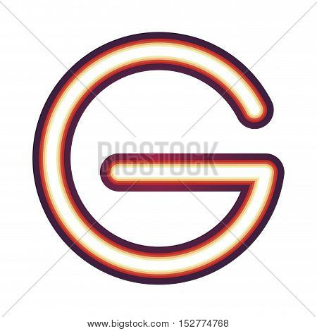 Glowing neon colorful letter G over white background. vector illustration