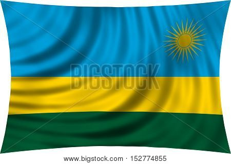 Rwandan national official flag. African patriotic symbol banner element background. Correct colors. Flag of Rwanda waving isolated on white 3d illustration