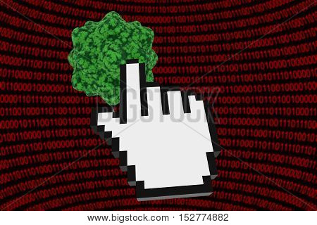 Clicking On A Virus - Computer Virus On Binary Background With Hand Cursor 3D Illustration