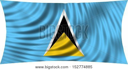 Saint Lucian national official flag. Patriotic symbol banner element background. Correct colors. Flag of Saint Lucia waving isolated on white 3d illustration