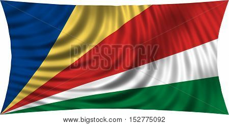 Seychellois national official flag. African patriotic symbol banner element background. Correct colors. Flag of Seychelles waving isolated on white 3d illustration