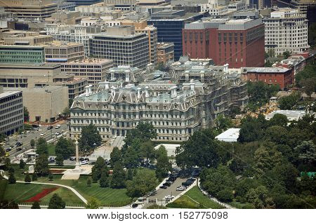 Aerial View from Washington Monument Aerial view of Eisenhower Old Executive Office Building from the top of Washington Monument in Washington DC, USA.
