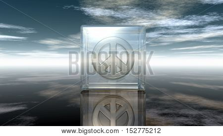 pacific symbol in glass cube under cloudy sky - 3d rendering