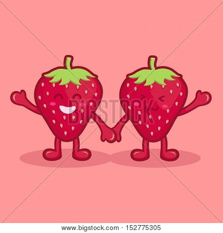 Happy Cute Couple Strawberry Fruit Mascot Wave Hand and Holding Hand Vector illustration