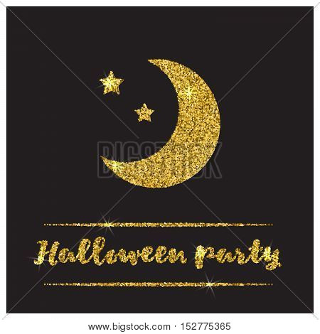 Halloween gold textured moon icon on black background. Golden design element for festive banner, greeting and invitation card, flyer, tag, poster, postcard, advertisement. Vector illustration.