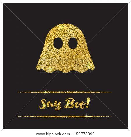 Halloween gold textured ghost icon on black background. Golden design element for festive banner, greeting and invitation card, flyer, tag, poster, postcard, advertisement. Vector illustration.