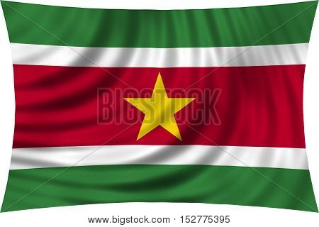 Surinamese national official flag. Patriotic symbol banner element background. Correct colors. Flag of Suriname waving isolated on white 3d illustration