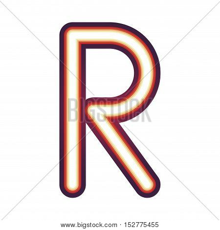 Glowing neon colorful letter R over white background. vector illustration