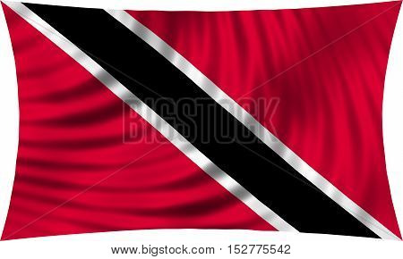 Trinidadian and Tobagonian national official flag. Patriotic symbol banner element background. Correct colors. Flag of Trinidad and Tobago waving isolated on white 3d illustration