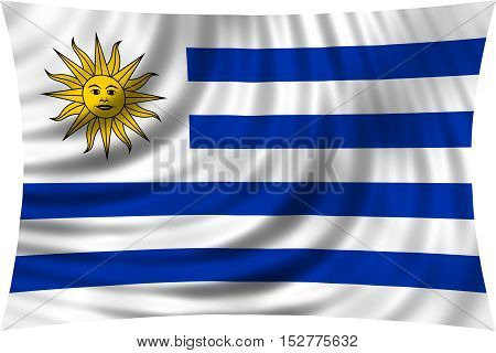 Uruguayan national official flag. Patriotic symbol banner element background. Correct colors. Flag of Uruguay waving isolated on white 3d illustration