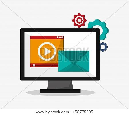Computer and envelope icon. Social media and digital marketing theme. Colorful design. Vector illustration
