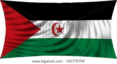 Sahrawi national official flag. Western Sahara patriotic symbol. SADR banner element background. Correct colors. Flag of Sahrawi Arab Democratic Republic waving isolated on white 3d illustration