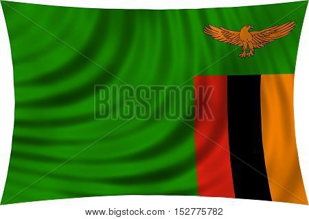 Zambian national official flag. African patriotic symbol banner element background. Correct colors. Flag of Zambia waving isolated on white 3d illustration