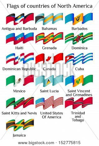 Set of flying flags of North America countries in waves isolated on white background. Vector illustration