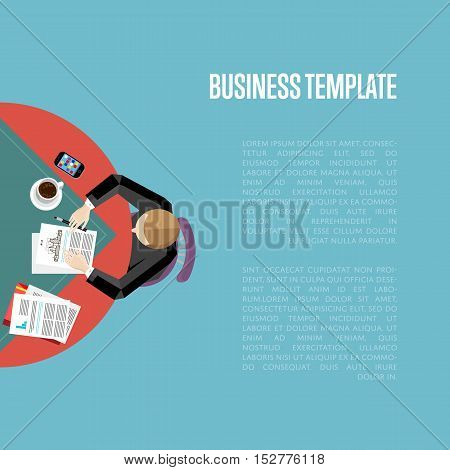 Top view business workplace, vector illustration. Overhead view of businessman working with financial documents at office desk. Business people template with space for text on blue background.