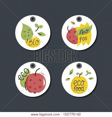 Eco and bio food labels set isolated on gray background. Natural products price tags for organic foods shop, vegan cafe, restaurant, eco bar. Healthy eating concept. Green lifestyle design elements