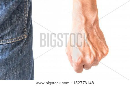 Man fist with white background angry feeling