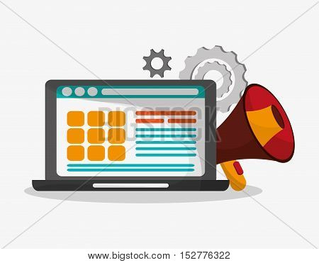 Laptop and megaphone icon. Social media and digital marketing theme. Colorful design. Vector illustration