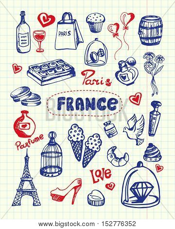 France and Paris associated symbols. French national, cultural, culinary, architectural, fashion related doodles drawn on squared paper vector illustrations set. Sketched with pen romantic icons