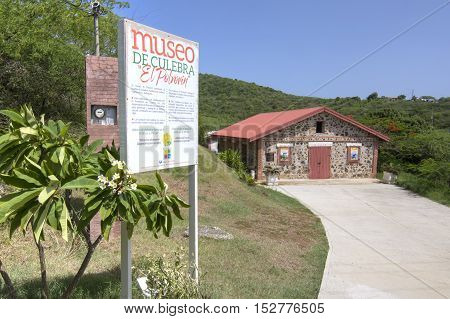 ISLA CULEBRA PUERTO RICO - SEPTEMBER 28 2016: El Polvorin museum in Isla Culebra presents the rich history of the native Tainos and U.S. Navy occupation with a display of artifacts and old photographs.