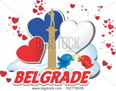 Monument of Belgrade with sparrows,  Belgrade with hearts, Winner silhouette vector