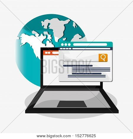 Laptop and search icon. Social media and digital marketing theme. Colorful design. Vector illustration