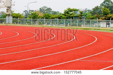 track running red treadmill for athletics and competition.
