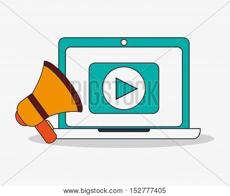 Laptop and megaphone icon. digital marketing media and seo theme. Colorful design. Vector illustration