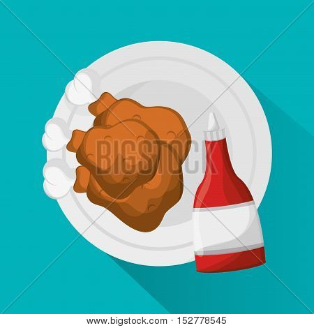 Chickens icon. Fast food menu and market theme. Colorful design. Vector illustration